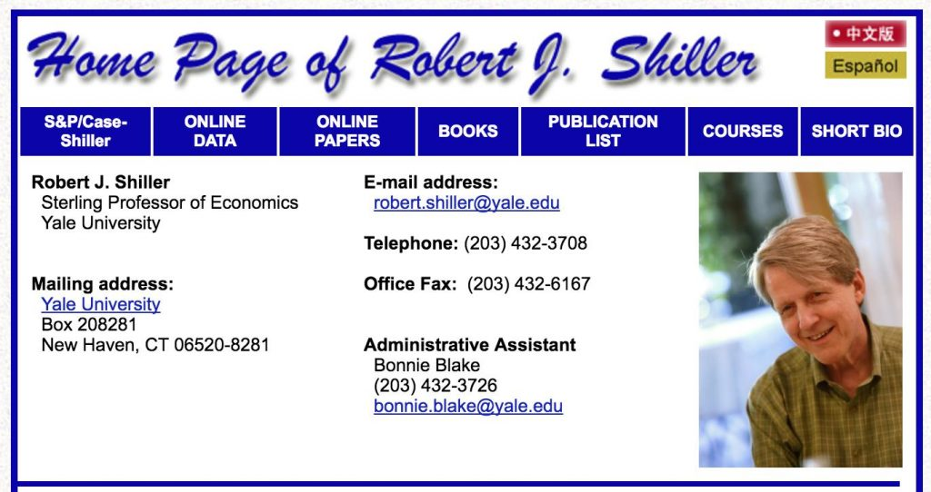 Yale Univerity - Robert Shiller Home Page